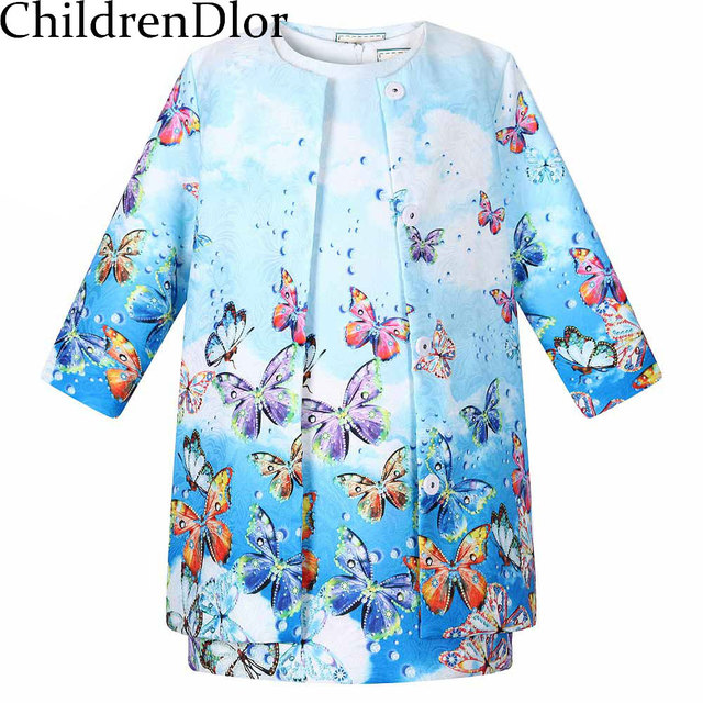 2015 Kids Clothes Tracksuit Brand Girls Clothes Baby Girl Clothing Novelty Style Printed 3/4 Sleeve Girls Tracksuit (Coat+dress)