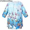 2015 kids clothes chándal marca niñas ropa de bebé ropa de la muchacha estilo de la novedad impreso mangas 3/4 niñas chándal (coat + dress)