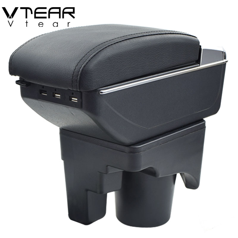 Vtear For VW jetta mk5 Golf mk5 6 armrest box USB Charging heighten Double layer central
