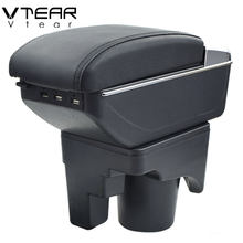 Vtear For VW jetta mk5 Golf mk5 6 armrest box USB Charging heighten Double layer central content cup holder ashtray accessories(China)