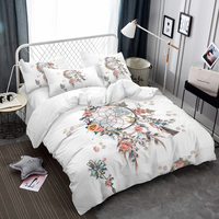 Dream Catcher With Flowers Print Bedding Set Bohemia Style Duvet Cover Set White Bedclothes Twin King Queen Bed Cover D45