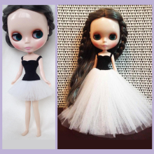 D0381 New DIY 12 inch 30cm Blythe Doll dress Accessories children gift Ballet dress black white color 1pcs