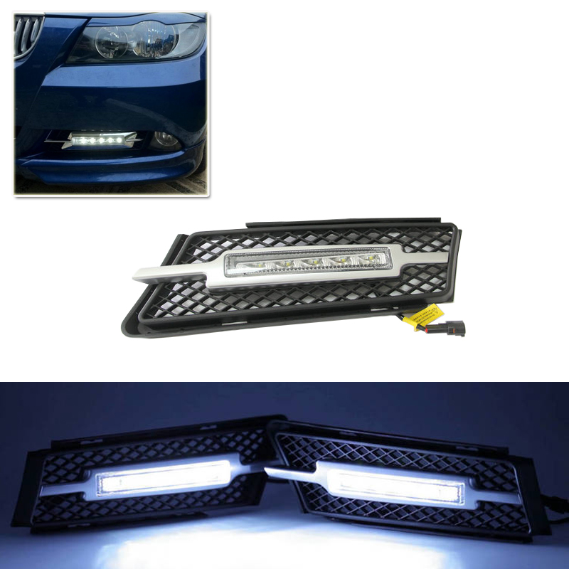 Set Car Styling Led Daytime Running Lights Fit For Bmw E90 3 Series 4Door 05-08 DRL Driving Fog Light 30% 50% 75% Dimmable DRL oem fit 10w high power 5 led daytime running lights drl kit for bmw 3 series e90 e91 2005 2008 driving light led fog light lamp