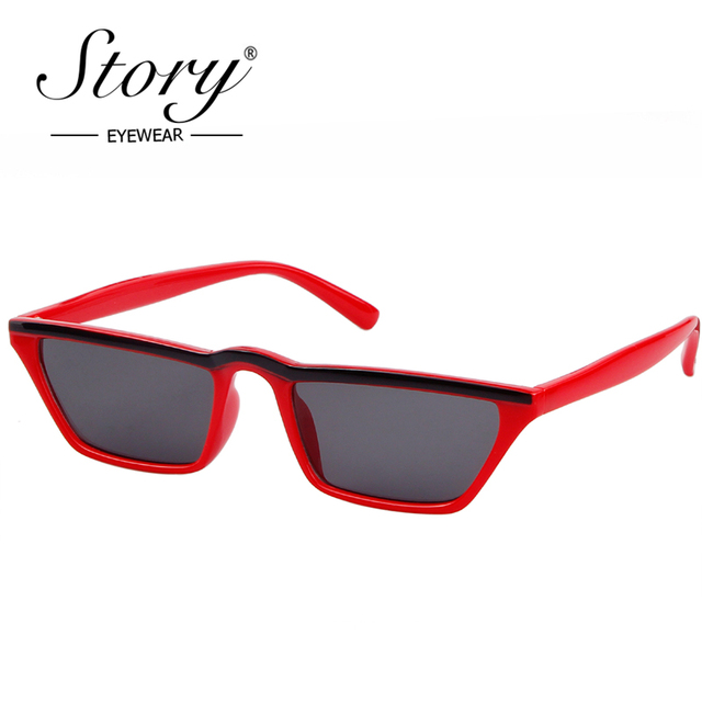 b7da03a8135be STORY 2018 Fashion Small Rectangle Sunglasses Men Women Brand Retro Red  Yellow Black Narrow Frame Shades Female Acetate Eyewear