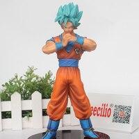 Anime Dragon Ball Super Goku figura Super Saiyan Dios azul cabello Goku PVC acción figura Juguetes 18 cm