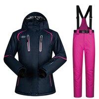Лыжный костюм женские бренды 2018 новые комплекты ветрозащитные дышащие непромокаемые зимние куртки и брюки теплые зимние лыжные костюмы дл