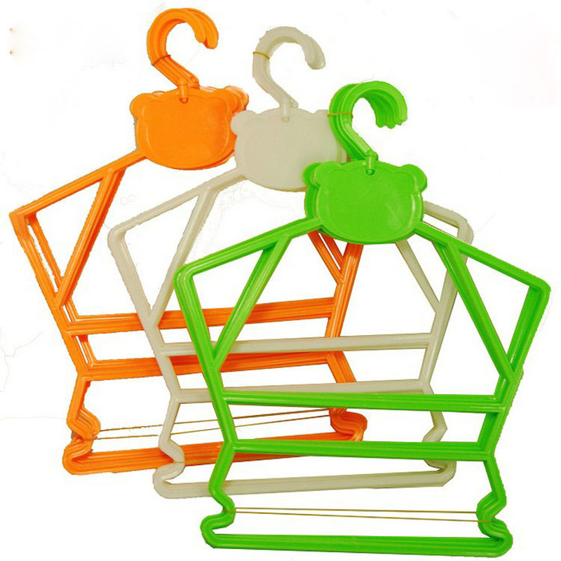 30pcs/lot plastic hanger children multi-function conjoined hangers for clothes rack 3 color