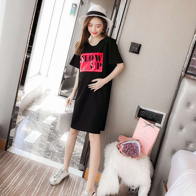 2018 spring and summer maternity clothes fashion new tide mother loose cotton long section Korean short-sleeved T-shirt
