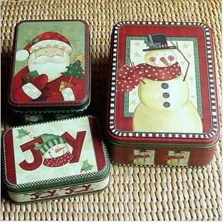 Free shipping Merry Christmas Tin Box Cute Santa Snowman ...