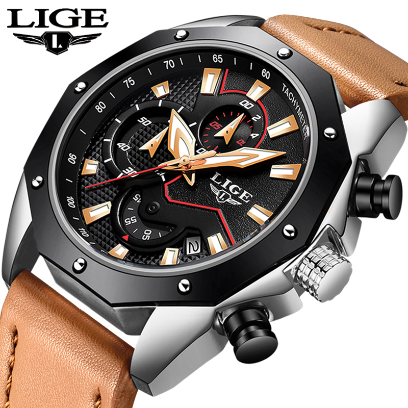 2018 New LIGE Men Watches Top Brand Luxury Fashion Business Waterproof Watch Men Military Leather Sport Watch Relogio Masculino 2018 new lige men watches top brand luxury leather business watch men calendar waterproof sport quartz watch relogio masculino