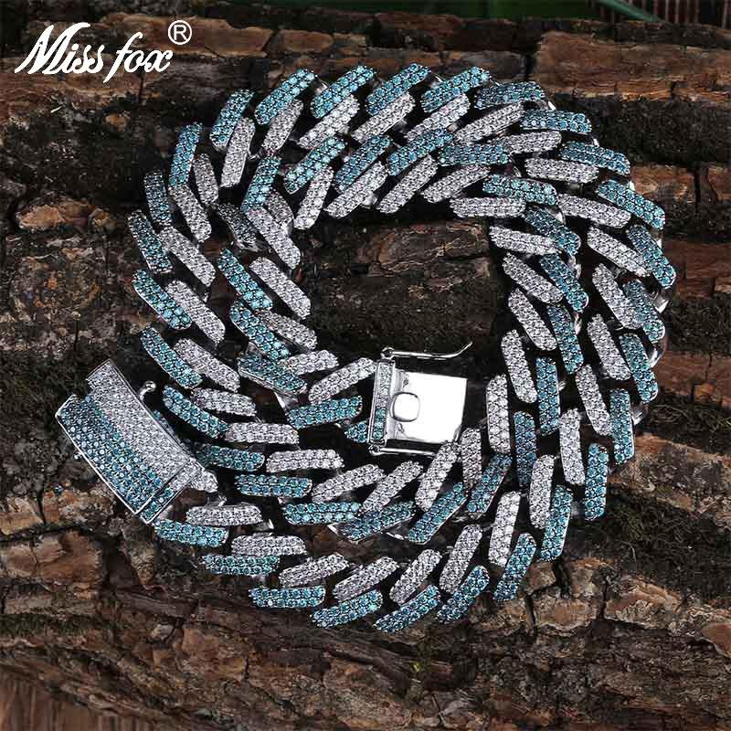 Missfox Best-seller vert menthe deux tons personnalisé collier pour hommes diamant de laboratoire complet bijoux en cuivre à la mode Hiphop Top qualité pour les hommes