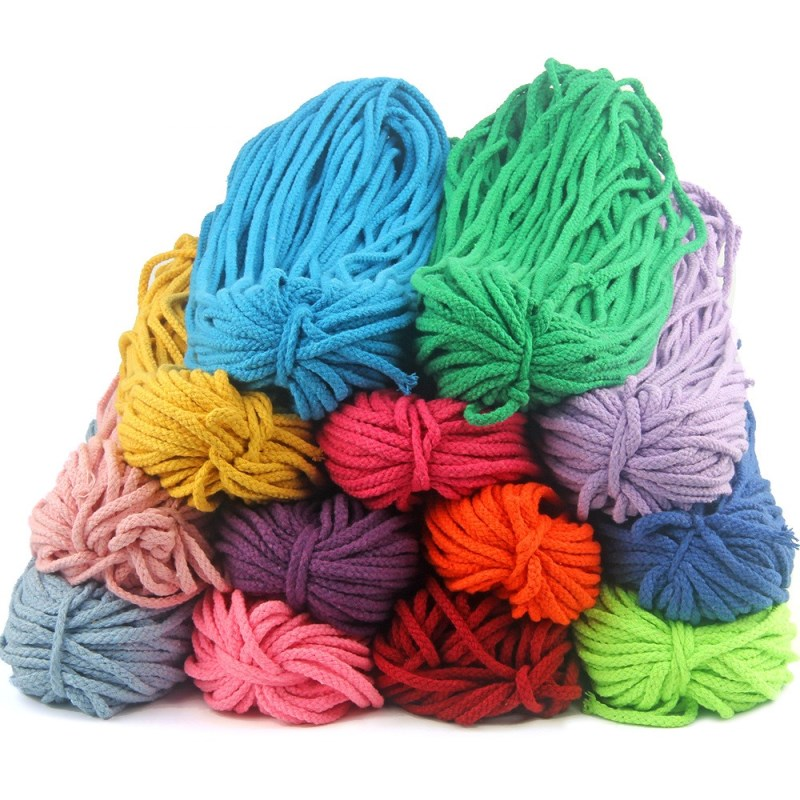 5mm Colored Twisted Cord Rope 100% Cotton Woven Rope Cords Craft Decorative DIY Handmade Bag Drawstring Belt Accessories 5meter