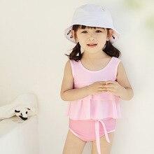 Новейший детский полосатый бикини с бантом для маленьких девочек; костюм темно-синего цвета; купальный костюм; одежда для купания; детский купальник