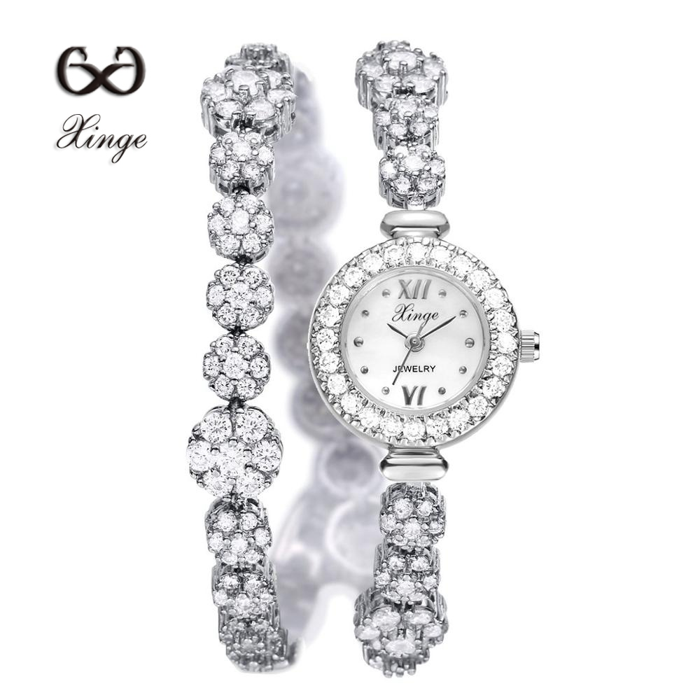 Xinge Luxury Zircon Bracelet Watches Women Silver Copper Ladies Flowers Dress Quartz Watch Fashion Business Wristwatch XG1027 xinge brand fashion women quartz wrsit watches clock leather strap business watch ladies silver luxury female sport womens watch