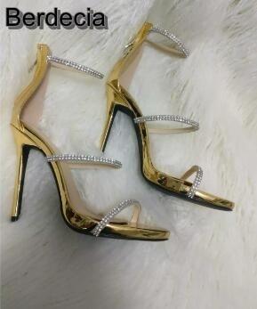 ФОТО Hot selling bling crystal embellished high heel sandal gold leather ankle strap gladiator sandal woman thin heels sandal size 10