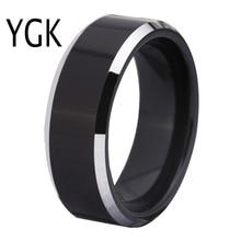 จัดส่งฟรีศุลกากรแกะสลักแหวนขายร้อน 8 มม.สีดำเงาขอบ Comfort Fit Design แฟชั่นผู้ชายทังสเตนงานแต่งงานแหวน