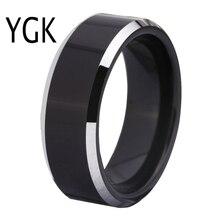 شحن مجاني خاتم نقش الجمارك تخفيضات ساخنة 8 مللي متر أسود بحواف لامعة تصميم مريح للرجال خاتم زواج تنغستين عصري
