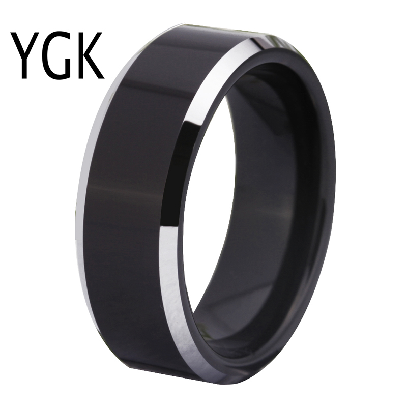 цена Free Shipping Customs Engraving Ring Hot Sales 8MM Black With Shiny Edges Comfort Fit Design Men's Fashion Tungsten Wedding Ring