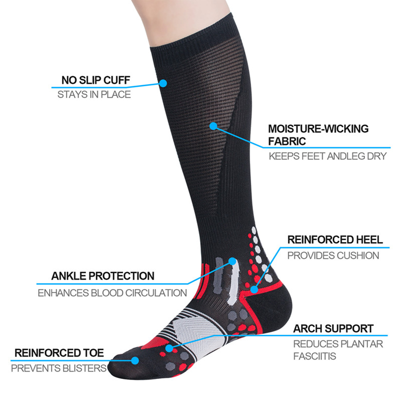 Compressprint Men Professional Compression Socks Breathable Travel Activities Fit For Nurses Shin Splints Flight Travel