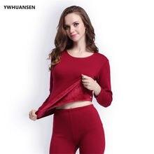YWHUANSEN 2pcs set Women s Thermal Underwear Set Top   Bottom Fleece Lined  Winter Woman Clothes Warm Suit For Women Long Johns cc8077170