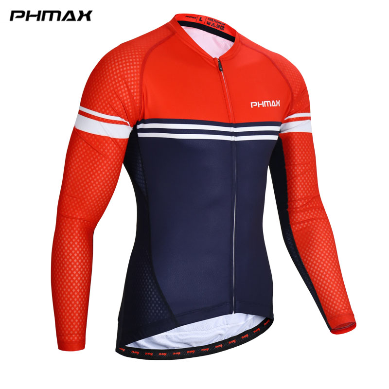 PHMAX 100% Breathable Pro Cycling Jersey Long Sleeve Cycling Clothing Maillot Ropa Ciclismo Bicycle Sportswear Mens Bike Clothes