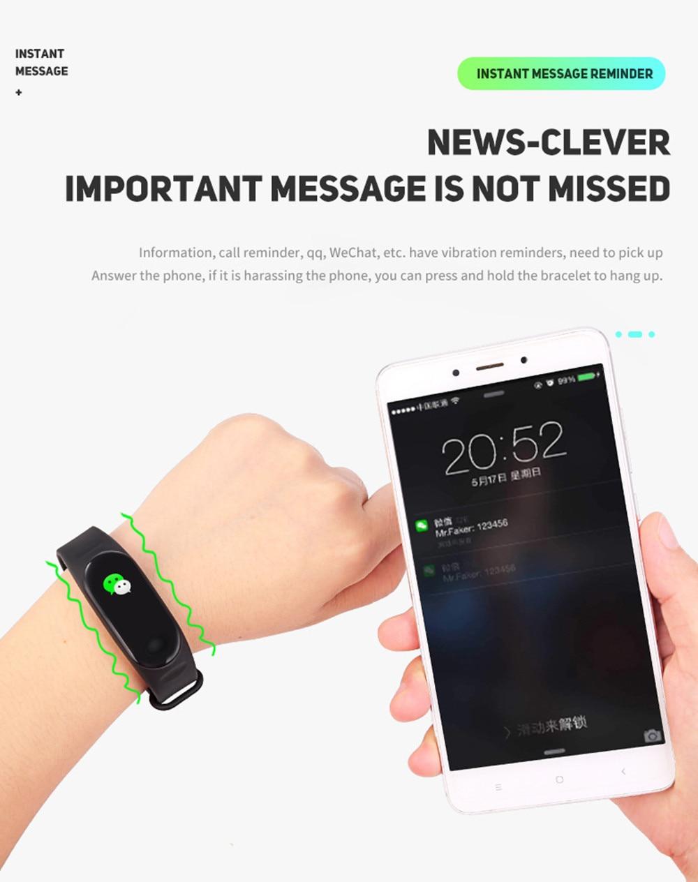 HTB1Msyra8Cw3KVjSZFuq6AAOpXa9 M3 Smart Watch Bracelet Band Fitness Tracker Messages Reminder Color Screen Waterproof Sport Wristband For men women