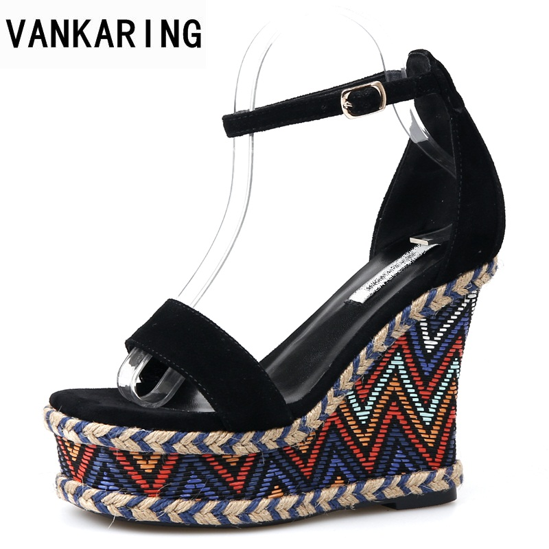 VANKARING newset brand summer women sandals 2018 fashion wedges women sandals open toe platform woman shoes ladies party shoes vtota 2017 fashion wedges women sandals bling summer shoes woman platform sandalias soft leather open toe casual women shoes r25
