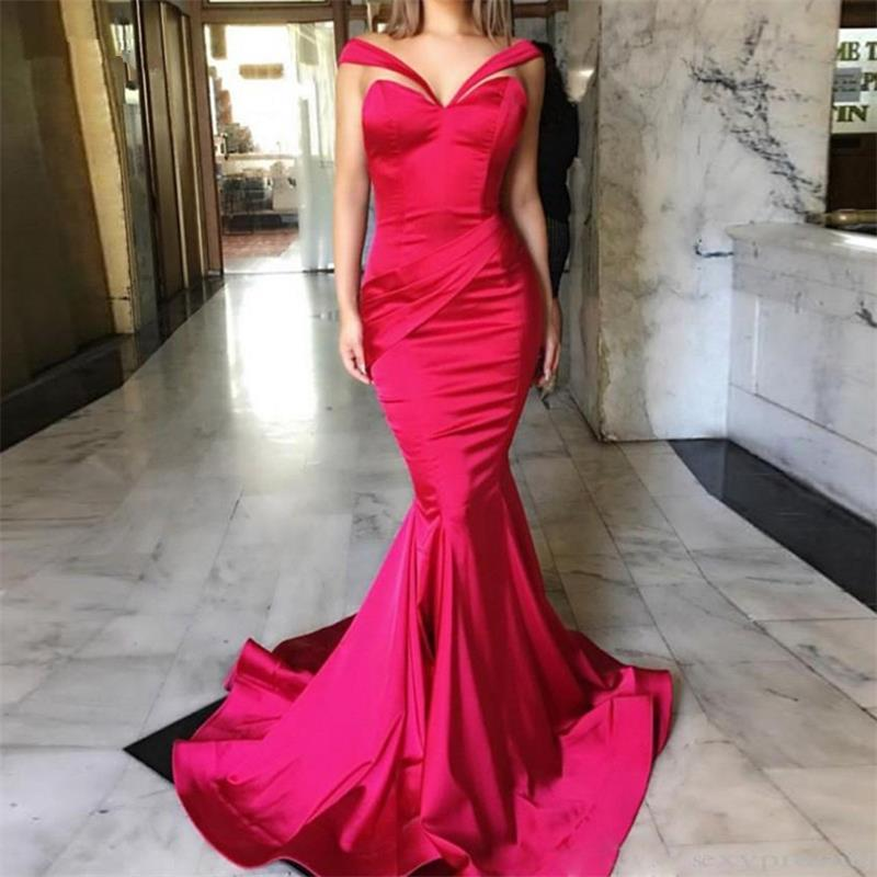 Fuchsia   Evening     Dresses   2019 Mermaid Deep V-neck Formal Islamic Dubai Saudi Arabic Long Elegant   Evening   Gown Prom   Dresses