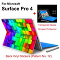 2017 Hot Sale For Surface Pro 4 Tablet Vinyl Decal Netbook Glittler Sticker Skin+Explosion-proof Tempered Glass Screen Protector