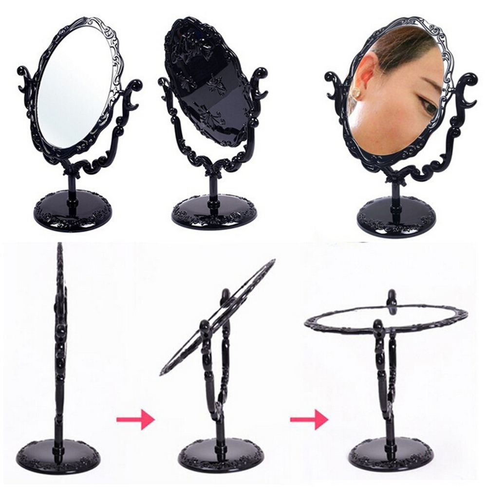 Black Vintage Royal Makeup Mirror Desktop Rotatable Gothic Mirror with Butterfly Rose Decoration Cosmetic Tool