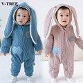 Mamelucos del bebé del Algodón con capucha bebe V-TREE orejas de Conejo ropa de bebé recién nacido ropa de Invierno mono infantil trajes