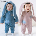 V-TREE Algodão macacão de bebê roupas de bebe com capuz orelhas de Coelho roupas de Inverno do bebê recém-nascido macacão infantil trajes