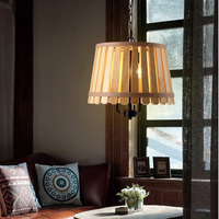 Mediterranean Wooden Pendant Lights Fixture Hand Made Wood Single Droplights Restaurant Dining Room Foyer Bed Room Pendant Lamps