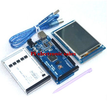 Free shipping! 3.2″ TFT LCD Touch + TFT 3.2 inch Shield + Mega 2560 R3 with usb cable for Arduino kit