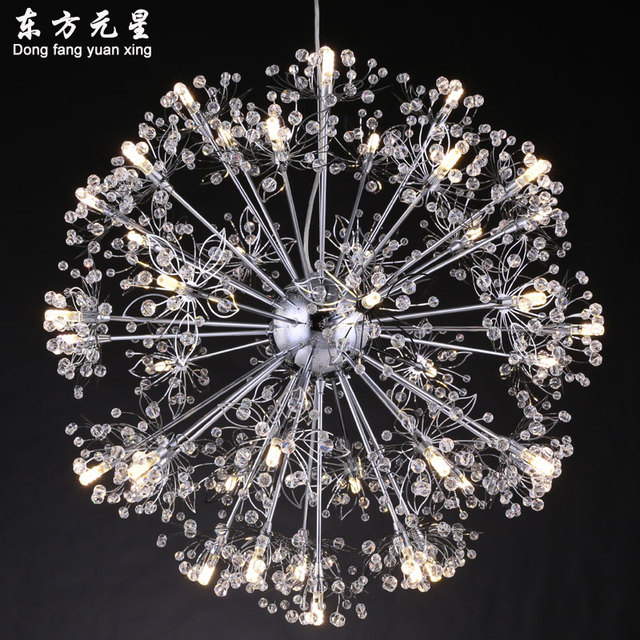 LED lighting crystal chandelier stainless steel flower hanging light stars  clothing store bar chandelier