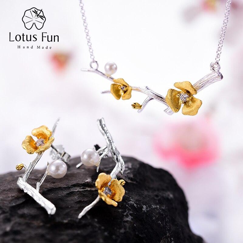 Lotus Fun Real 925 Plata de Ley diseñador hecho a mano joyería fina delicado flor de ciruelo conjunto de joyas para mujeres-in Conjuntos de joyería from Joyería y accesorios    1