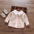 Ropa femenina infantil otoño de 2017 Niños ropa de bebé bebé 100% algodón cardigan princesa suéter suéter de la manera del todo-fósforo