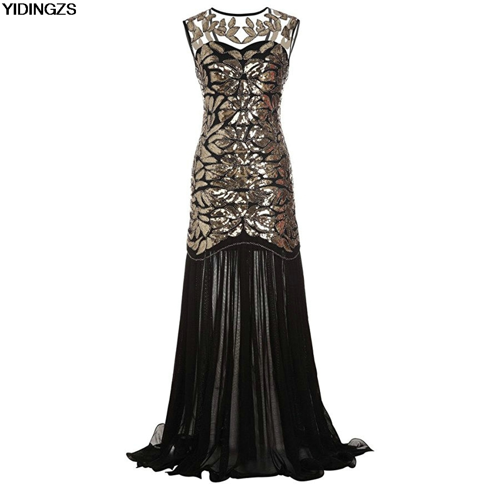 YIDINGZS Women s Dress Gold Sequins Beading Maxi Long Evening Prom Dress