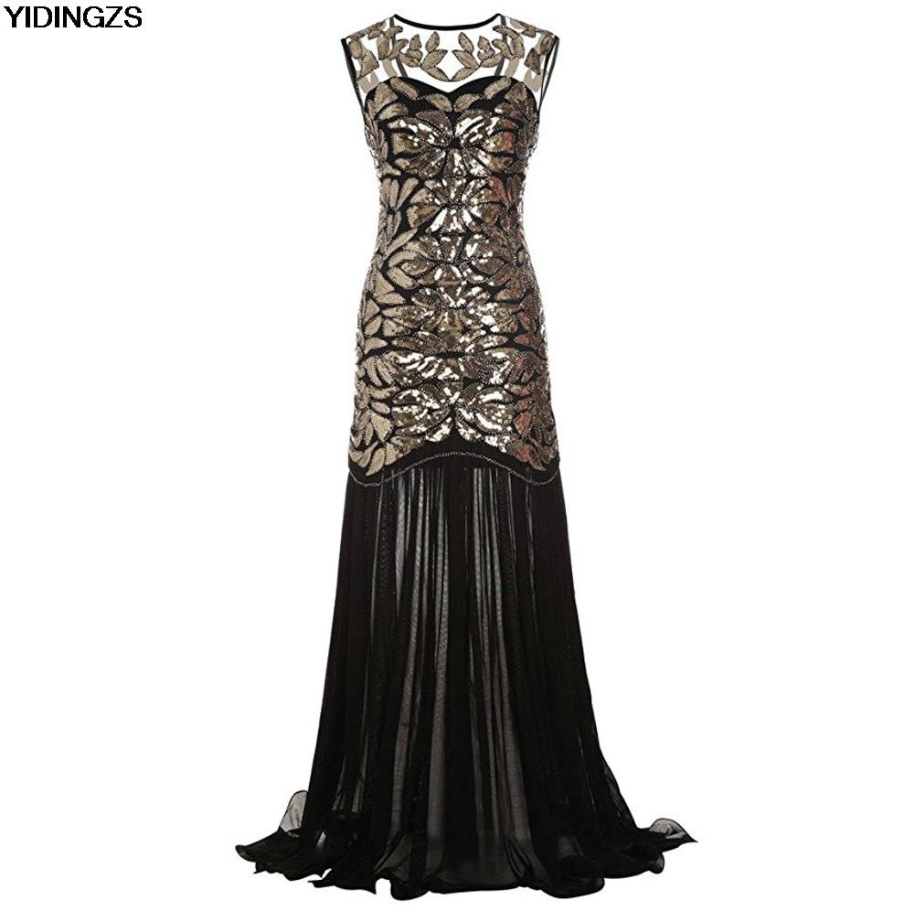 YIDINGZS Women s Dress Gold Sequins Beading Maxi Long Evening Prom Dress