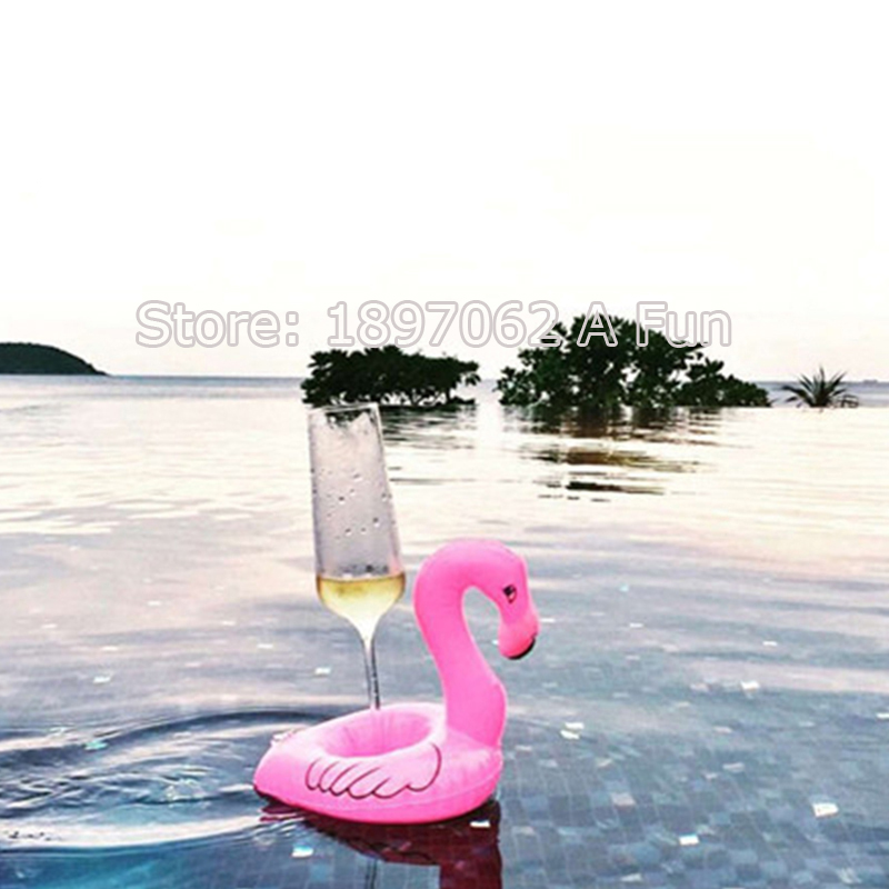 10pcs Lot Mini Cute Flamingo Drink Can Holder Pvc Inflatable Floating Swimming Pool Bathing