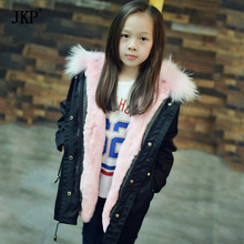 Mother and daughter Winter black Green Jacket women girls Fur Collar Hooded Coats Thick Parkas Plus Size Real Raccoon  Outwear children winter big real raccoon fur hooded thick warm parkas jackets boy girls fashion 2018 casual real liner coats bing bunny