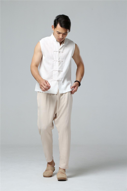 LZJN 2019 Men's Summer Waistcoat Chinese Style Vintage Breathable Linen Button Down Kung Fu Shirt Sleeveless Vest Jacket  (11)
