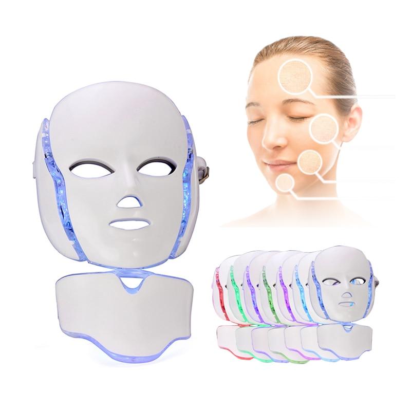 7 couleur Lumière LED Masque Facial Photon Thérapie Resserrer Les Pores Ment Anti Rides Soins de La Peau Du Cou de Beauté Spa Instrument