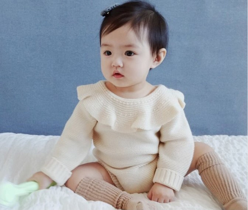 2017 Baby Girls Infant knitted Rompers Long Sleeve Jumpsuits Ruffles Princess Girl Sweet Knitted Overalls Infant Romper lovely 2017 baby girls infant rompers long sleeve jumpsuits ruffles princess girl sweet knitted overalls infant romper 9 36m