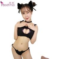 Feeetmoi Black Chest Hollow Cat Girl Sexy Uniform Set For Women Erotic Lingerie Ruffles Babydoll Sleepwear