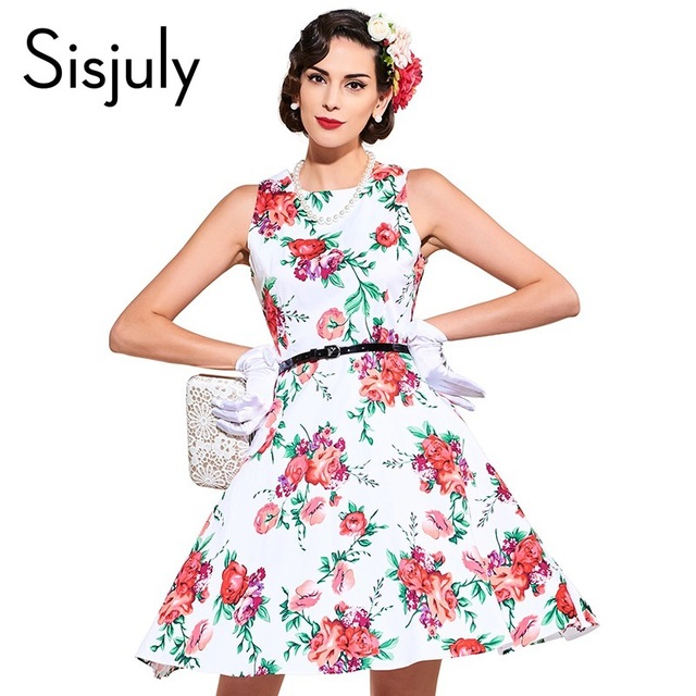 bd0d6cb1168c0 Sisjuly 2017 floral print vintage dress style 1950s luxury party dress with  sashes summer dress sleeveless vintage dresses-in Dresses from Women's ...