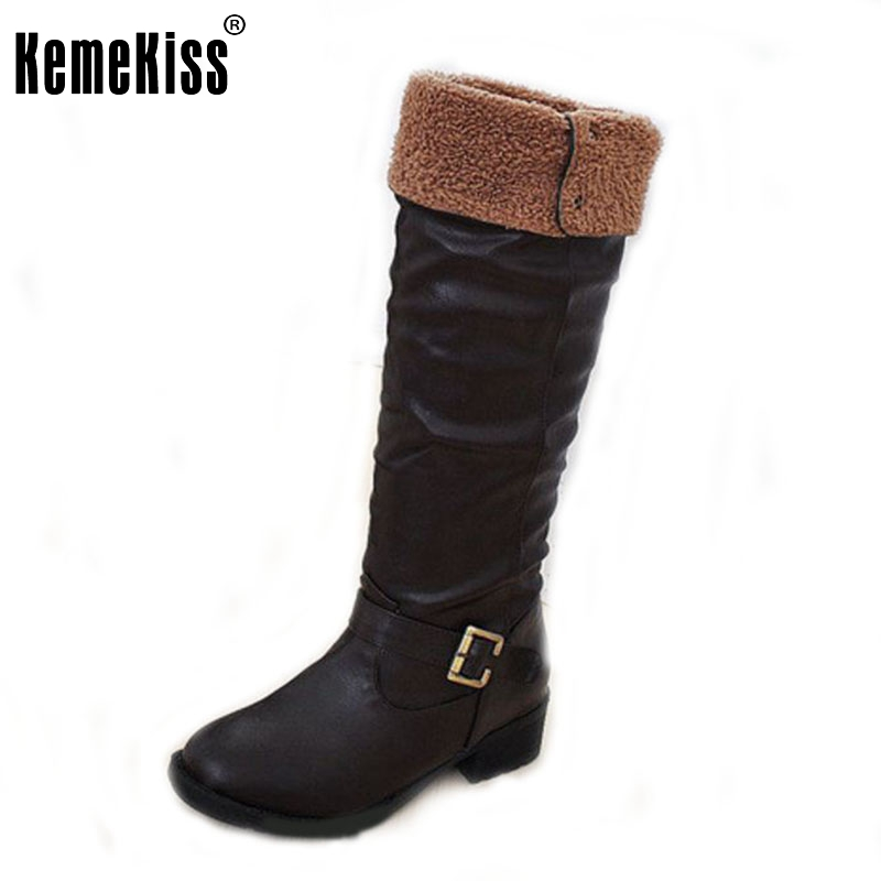 New Arrive Winter Knee High Women Boots Black Yellow Brown Flat Heels Half Boots Autumn Winter Shoes Woman Size 34-43 brand new fashion black yellow women knee high cowboy motorcycle boots ladies shoes high heels a 16 zip plus big size 32 43 10