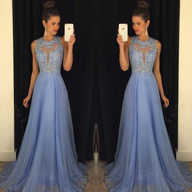 Lavande 2019 longues robes de bal dentelle Appliques perles formelle soirée robe de bal longue une ligne Zip retour en mousseline de soie fête robe de bal