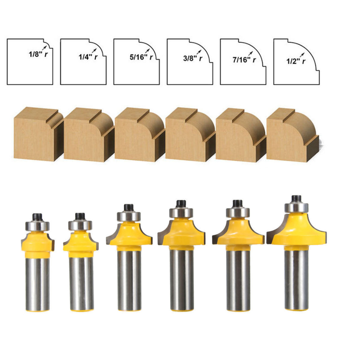 QUALITY 6Pcs 1/2 1/8 1/4 5/16 3/8 7/16 1/2 Shank Round Over Edging Router Bit Set Woodworking Tools Set ninth world 29pcs star set male female sockets with 1 4 3 8 1 2 torx sq drive bit auto car repair tools