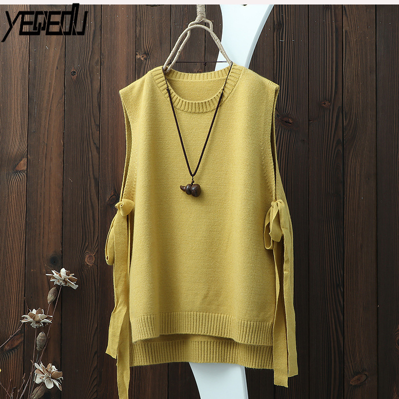 #0731 Round-Neck Pullover Sleeveless Knitted Vest Women Plus Size Side Bandage Thin Hollow Out Loose Pullover Waistcoat Vintage